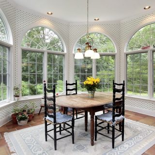 Eating area with large round picture windows